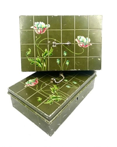 Vintage Metal Storage Tins / Deed Box / Cash Boxes / Art Nouveau Flower Design